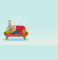 Man reading a magazine on the couch vector