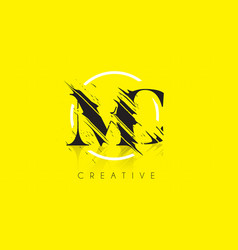 Mc letter logo with vintage grundge drawing vector