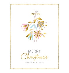 Merry christmas and new year gold flower card vector image