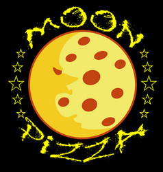 moon pizza logo or sticker on black background vector image