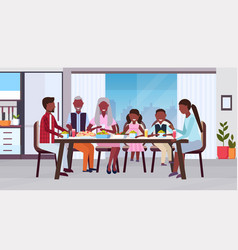 multi generation family sitting around table vector image