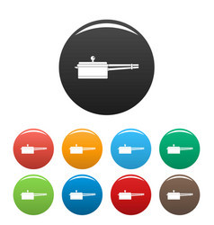 new saucepan icons set color vector image