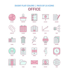 office icon dusky flat color - vintage 25 icon vector image