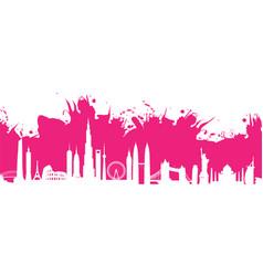 Pink cityscape splash vector