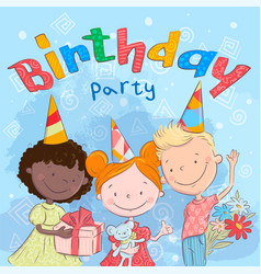 poster cute kids with gifts hand drawing vector image