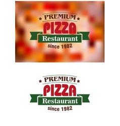 Premium Pizza Restaurant sign vector image