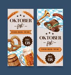 Pretzel wheat beer and tyrolean hat flyer design vector