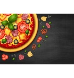 Realistic Pizza recipe or menu background vector image