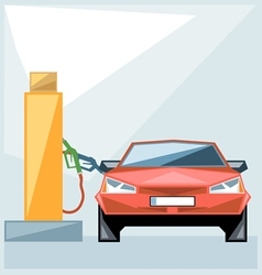 Red car at fuel station over blue background vector image