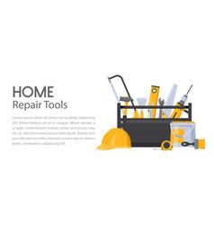 Repair tools handyman toolbox with builder vector