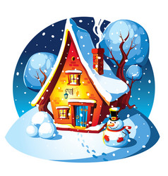 rustic stone house winter landscape vector image