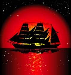 sailboat at sunset vector image