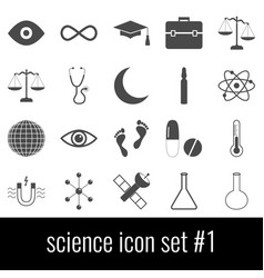 science icon set 1 gray icons on white vector image
