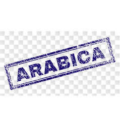 Scratched arabica rectangle stamp vector