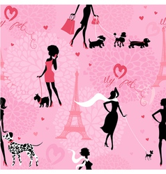 Seamless pattern with black silhouettes fashion vector