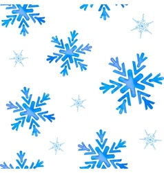 Seamless pattern with watercolor snowflakes vector
