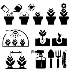 Set agrotechnics icons vector
