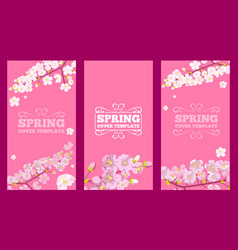 Set cherry blossoms decorated cover design vector