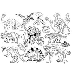 set collection bundle engraving dinosaurs vector image