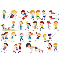 Set exercise kids vector