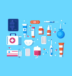 set medical accessories vector image
