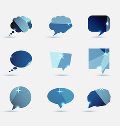 Set of blue polygonal geometric speech bubble vector