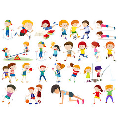 Set of exercise kids vector