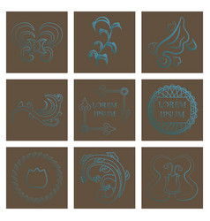 set of flat design elements in vintage style vector image
