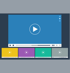 set of flat video player for web and mobile apps vector image