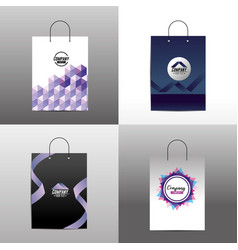 Set stationary template with corporate bag vector