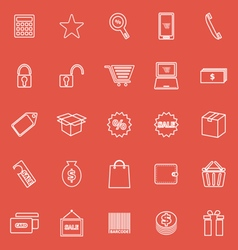 Shopping line icons on red background vector image