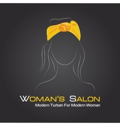 Silhouette woman in a turban on black vector image