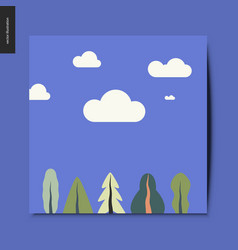 Simple things - landscape with trees and clouds vector