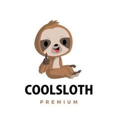 Sloth thumb up mascot character logo icon vector