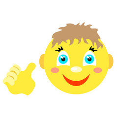 smiley boy with a thumbs up gesture vector image