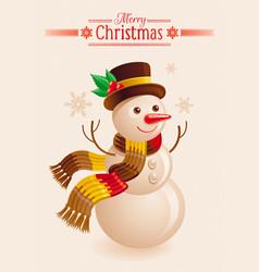 snowman christmas card cartoon snow man in hat vector image