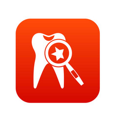 tooth with magnifying glass icon digital red vector image