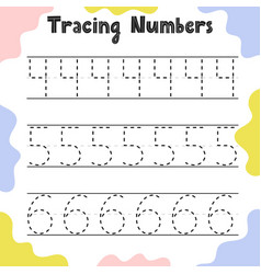 Tracing numbers activity page for kids preschool vector