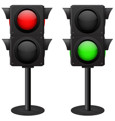 Traffic light stand red and green vector