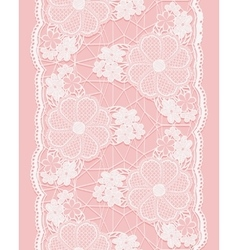 White seamless lace ribbon on pink background vector image
