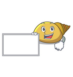With board mollusk shell character cartoon vector