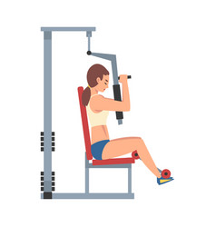 Woman training with gym machine vector