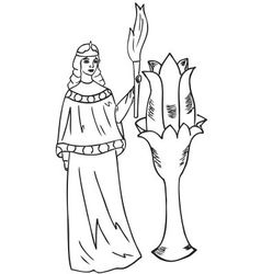 Woman with a torch vector
