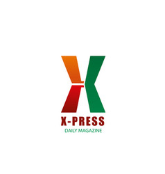 x letter icon for x-press magazine vector image