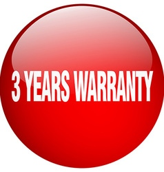3 years warranty red round gel isolated push vector image vector image