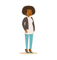 casual african american girl with curly hair and vector image vector image