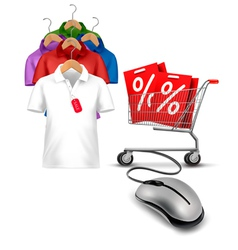 Different hangers with shirts and a computer mouse vector image vector image