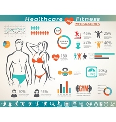 fitness and wellness infographcs active people vector image vector image