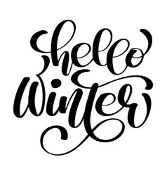 greeting card with phrase hello winter vector image vector image