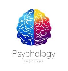 Modern Brain logo of Psychology Human Creative vector image